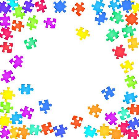 Gioco tickler puzzle arcobaleno colori parti illustrazione vettoriale. Dispersione di pezzi di puzzle isolati su bianco. Concetto astratto di lavoro di squadra. ClipArt di pezzi di puzzle. Vettoriali