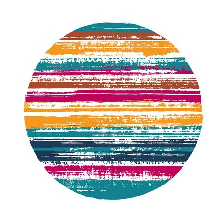Abstract circle vector geometric shape with striped texture of ink horizontal lines. Disk banner with old paint texture. Stamp round shape logotype circle with grunge background of stripes.