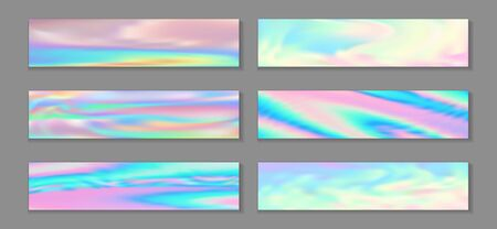 Holography hipster banner horizontal fluid gradient unicorn backgrounds vector collection. Opalescence holographic texture gradients. Fluid liquid print fashionable unicorn backgrounds.