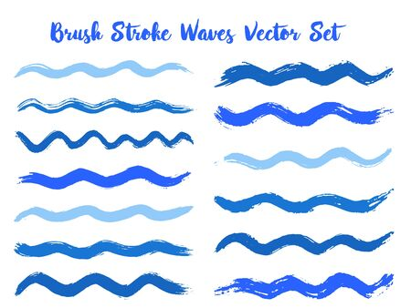 Graphic brush stroke waves vector set. Hand drawn blue cyan brushstrokes, ink splashes, watercolor splats, hand painted curls. Interior paint color palette swatches. Wavy stripes vector set.
