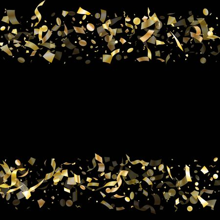 Gold shiny confetti flying on black holiday vector design. Chic flying sparkle elements, gold foil texture serpentine streamers confetti falling christmas background.
