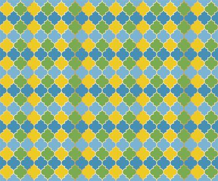 Eastern Mosque Window Vector Seamless Pattern. Ramadan mubarak muslim background. Traditional ramadan mosque vector pattern with gold grid. Trendy islamic window grid design of lantern shapes tiles.