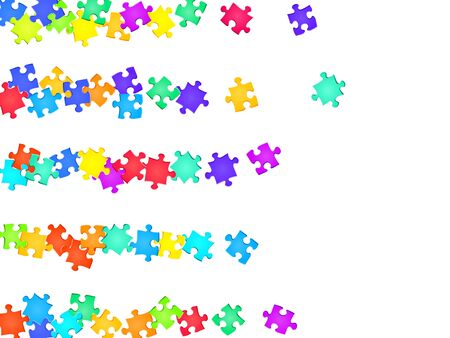 Game teaser jigsaw puzzle rainbow colors pieces vector background. Group of puzzle pieces isolated on white. Strategy abstract concept. Jigsaw pieces clip art.
