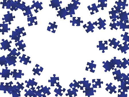 Game brainteaser jigsaw puzzle dark blue pieces vector background. Top view of puzzle pieces isolated on white. Problem solving abstract concept. Connection elements. Illustration