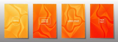 Flat covers linear design. Fluid curve shapes geometric lines patterns. Digital backgrounds for notepads, notice paper covers. Line shapes patterns, header elements. Cover page layouts set. Illustration