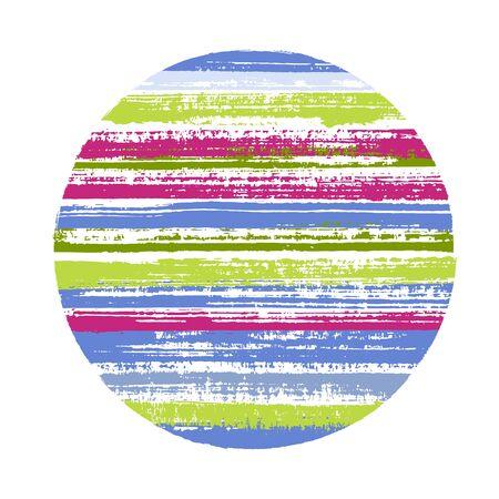 Forme géométrique vectorielle de cercle rétro avec texture rayée de lignes horizontales de peinture. Bannière de disque avec texture de peinture ancienne. Badge rond logotype cercle avec fond grunge de rayures. Logo
