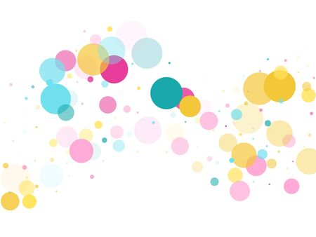 Memphis round confetti flying background in cyan, crimson and gold on white.  Childish pattern vector, children's party birthday celebration background.  Holiday confetti circles in memphis style.