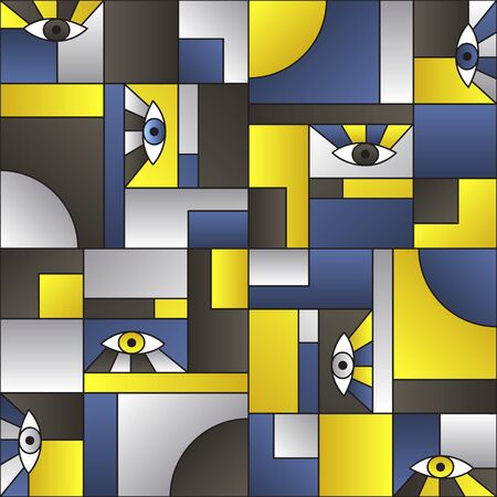 Blue gold black pattern with eyes in geometric shapes grid vintage fashion fabric print. Decorative modules illustration. Open eyes bauhaus geometric seamless pattern. Interior vector design.