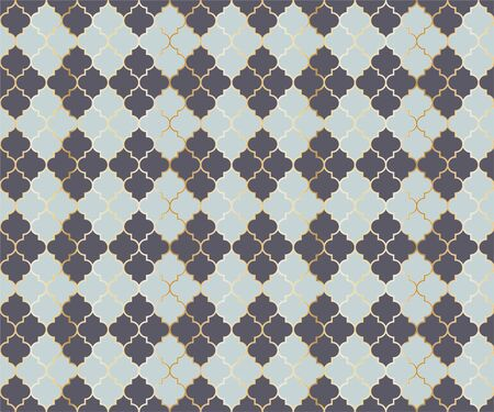 Turkish Mosque Vector Seamless Pattern. Argyle rhombus muslim fabric background. Traditional mosque pattern with gold grid. Rich islamic argyle seamless design of lantern lattice shape tiles. Banco de Imagens - 136244290