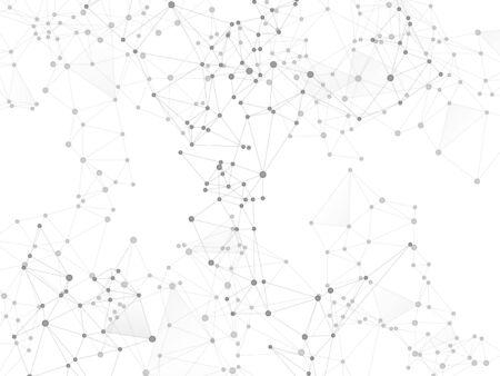 Big data cloud scientific concept. Network nodes greyscale plexus background. Chemical formula abstraction. Tech vector big data visualization cloud structure. Net grid of node points, lines matrix.