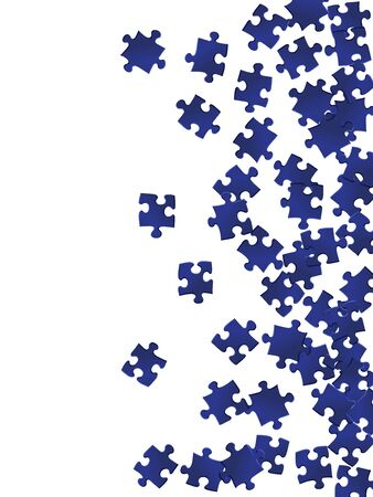 Abstract conundrum jigsaw puzzle dark blue pieces vector background. Scatter of puzzle pieces isolated on white. Problem solving abstract concept. Game and play symbols. Çizim