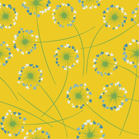 Cute dandelion blowing vector floral seamless pattern. Simple flowers with heart shaped petals. Vector dandelion herbs meadow flowers floral background. Meadow blossom fabric print.