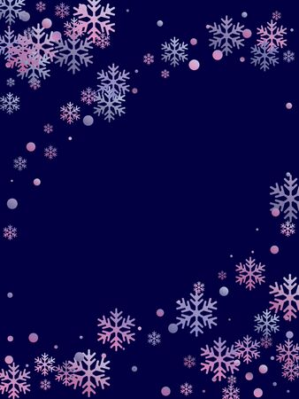 Winter snowflakes and circles border vector backdrop. Unusual gradient snow flakes isolated card background. New Year card border winter pattern with trendy snowflake elements isolated. 일러스트