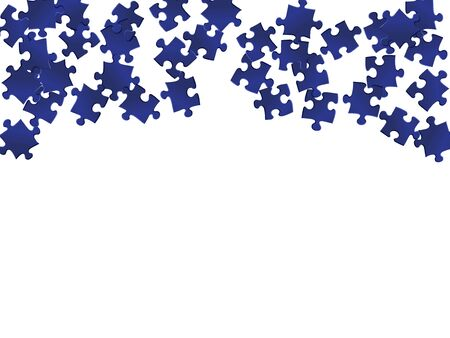 Game enigma jigsaw puzzle dark blue parts vector illustration. Top view of puzzle pieces isolated on white. Problem solving abstract concept. Jigsaw pieces clip art.