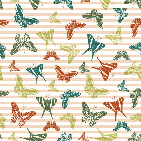 Flying creative butterfly silhouettes over horizontal stripes vector seamless pattern. Baby clothing textile print design. Stripes and butterfly winged insect silhouettes seamless wallpaper.