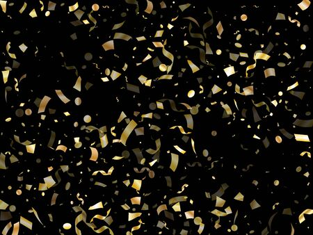Gold shining realistic confetti flying on black holiday vector backdrop. Rich flying sparkle elements, gold foil gradient serpentine streamers confetti falling xmas background.