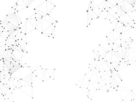 Concetto scientifico della nuvola di grandi dati. Sfondo del plesso in scala di grigi dei nodi di rete. Nodi e linee connessioni poligonali. Progettazione di tecnologie dell'informazione. Struttura del cloud di visualizzazione di big data di vettore di tecnologia.