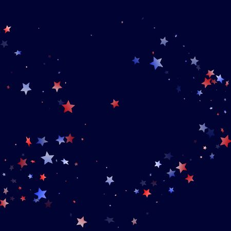 American Independence Day stars background. Confetti in USA flag colors for Independence Day. Cool red blue white stars on dark American patriotic vector. Fourth of July stardust scatter.