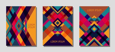 Set of cover page layouts, vector templates geometric design with triangles and stripes. Folklore brazilian motifs. Bauhaus pattern vector covers design. Cool rhombus stripe triangle shapes.