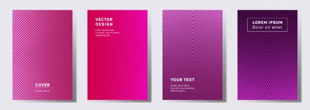 Minimalist cover templates set. Geometric lines patterns with edges, angles. Abstract backgrounds for cataloges, corporate brochures. Line stripes graphics, title elements. Annual report covers. Ilustração