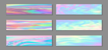 Holography modern banner horizontal fluid gradient unicorn backgrounds vector set. Fairy holography texture gradients. Fluid liquid effect fashionable unicorn backgrounds.