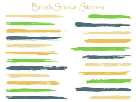 Minimal ink brush stroke stripes vector set, green horizontal marker or paintbrush lines patch. Hand drawn watercolor paint brushes, smudge strokes collection. Vector ink traces, color combinations.