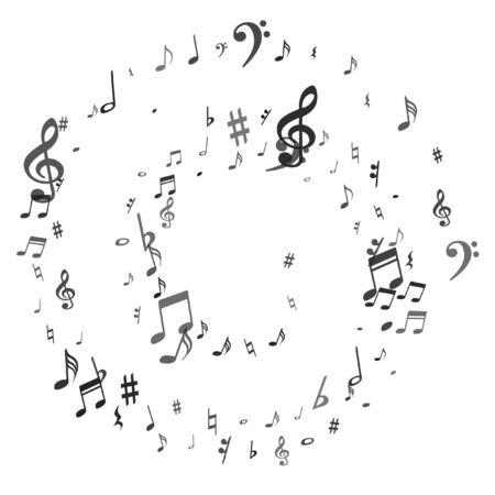 Notes de musique volantes noires isolées sur fond blanc. Signes symphoniques de notation musicale fraîche, notes pour le son et la musique mélodieuse. Symboles vectoriels pour l'enregistrement de la mélodie, les impressions et les couches arrière. Vecteurs