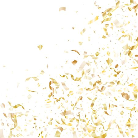 Gold glowing confetti flying on white holiday vector backdrop. Beautiful flying tinsel elements, gold foil texture serpentine streamers confetti falling festive vector.