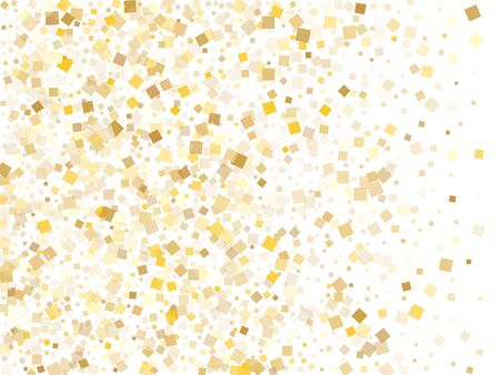 Trendy gold confetti sequins tinsels flying on white. Luxurious Christmas vector sequins background. Gold foil confetti party decoration texture. Rhombus pieces invitation backdrop.