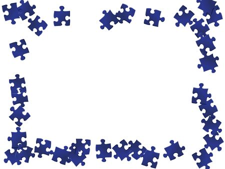 Abstract crux jigsaw puzzle dark blue pieces vector background. Top view of puzzle pieces isolated on white. Challenge abstract concept. Game and play symbols.