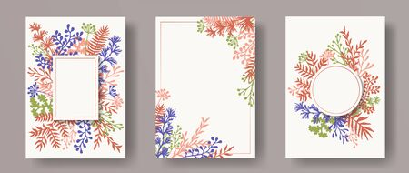 Cute herb twigs, tree branches, leaves floral invitation cards templates. Herbal corners natural invitation cards with dandelion flowers, fern, mistletoe, olive tree leaves, savory twigs.