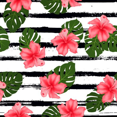 Red hibiscus flowers monstera leaves tropical seamless pattern for fabric print. Exotic floral wallpaper. Pink hibiscus and monstera palm leaves on stripes. Tropical jungle foliage and flowers design.