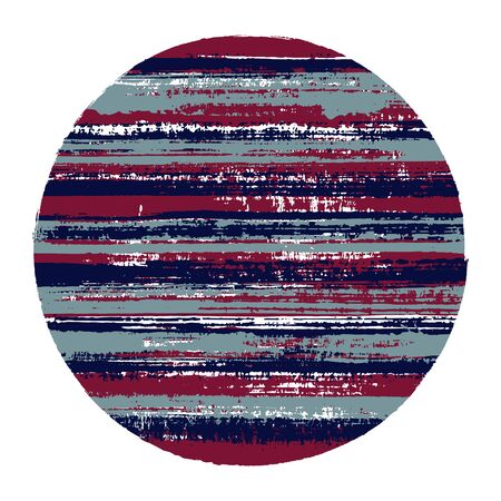 Circle vector geometric shape with striped texture of paint horizontal lines. Disc banner with old paint texture. Stamp round shape circle logo element with grunge background of stripes. Vectores