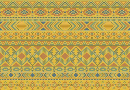 Ikat pattern tribal ethnic motifs geometric seamless vector background. Graphic boho tribal motifs clothing fabric textile print traditional design with triangle and rhombus shapes.