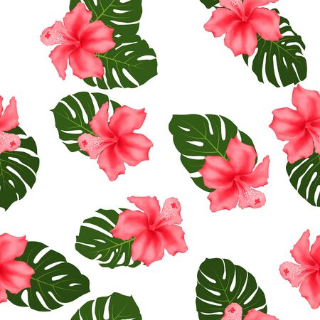 Red hibiscus flowers monstera leaves tropical seamless pattern for textile print. Exotic floral wallpaper. Pink hibiscus and monstera palm leaves on white. Tropical jungle foliage and flowers design. Illustration