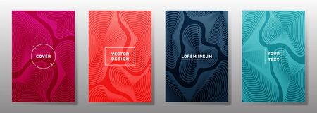 Trendy cover templates set. Fluid curve shapes geometric lines patterns. Gradient poster, flyer, banner vector backgrounds. Line stripes graphics, title elements. Annual report covers.