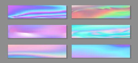 Hologram trendy flyer horizontal fluid gradient princess backgrounds vector collection. Kawaii hologram texture gradients. Fluid liquid effect abstract princess backgrounds.