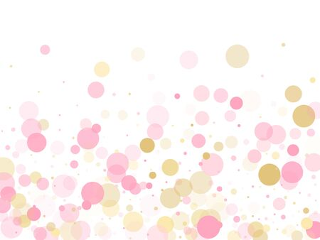 Rose gold confetti circle decoration for New Year card background. Holiday vector illustration. Gold, pink and rose color round confetti dots, circles scatter on white. Trendy rich bokeh background.