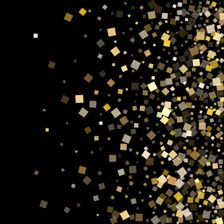 Glowing gold confetti sequins sparkles falling on black. Glittering holiday vector sequins background. Gold foil confetti party elements pattern. Overlay particles surprise backdrop. Vettoriali