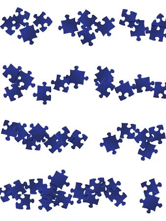 Game brainteaser jigsaw puzzle dark blue parts vector illustration. Group of puzzle pieces isolated on white. Challenge abstract concept. Jigsaw pieces clip art.