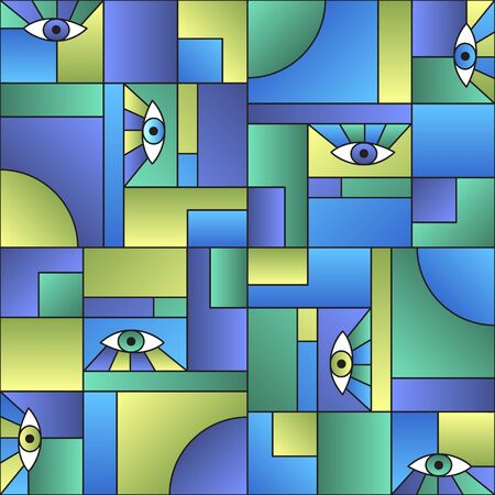 Colorful pattern with eyes in geometric shapes grid mondrian garde fashion textile print. Patches composition tile.