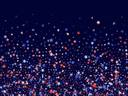 American Independence Day stars background. Holiday confetti in US flag colors for Patriot Day. Vivid red blue white stars on dark American patriotic vector. 4th of July stardust scatter.