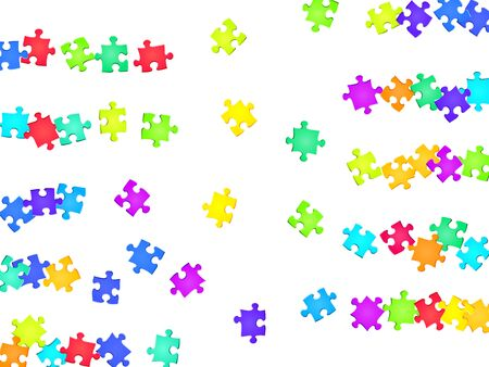 Abstract mind-breaker jigsaw puzzle rainbow colors pieces vector background. Scatter of puzzle pieces isolated on white. Challenge abstract concept. Kids building kit pattern.
