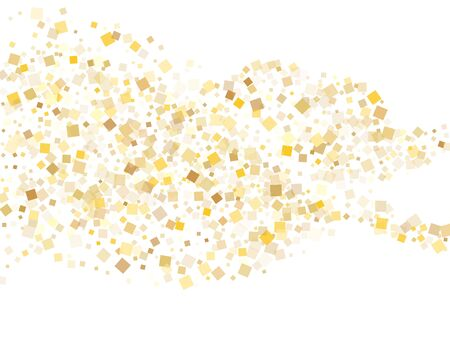 Geometric gold square confetti sparkles flying on white. Chic New Year vector sequins background. Gold foil confetti party pieces isolated. Square pieces invitation backdrop.