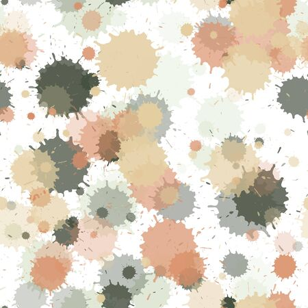 Paint transparent stains vector seamless wallpaper pattern. Hipster ink splatter, spray blots, mud spot elements seamless. Watercolor paint splashes pattern, smear liquid stains.
