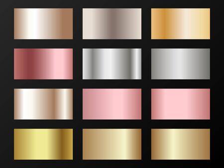 Cool golden, silver, bronze, pink gold gradients. Metallic foil texture silver, steel, chrome, platinum, copper, bronze, aluminum, rose gold gradient swatches.  Stylish metallic swatches set.