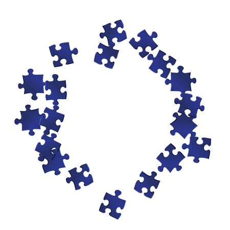 Game riddle jigsaw puzzle dark blue pieces vector background. Group of puzzle pieces isolated on white. Teamwork abstract concept. Connection elements.