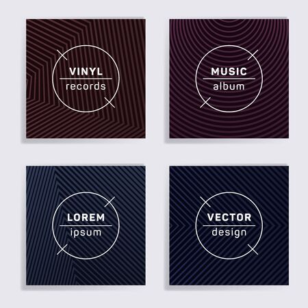 Retro plate music album covers collection. Halftone lines backgrounds. Trendy plate music records covers, vinyl album mockups. DJ records disc vector mockups. Techno party posters. Illustration