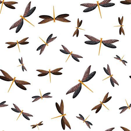 Libelle minimales nahtloses Muster. Sommerkleid Stoffdruck mit Damselfly Insekten. Isolierte Wasserlibelle Vektor Hintergrund. Wildtiere nahtlos. Schmetterlinge mit Flügeln.