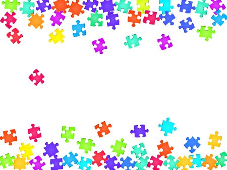 Game conundrum jigsaw puzzle rainbow colors pieces vector background. Top view of puzzle pieces isolated on white. Strategy abstract concept. Jigsaw pieces clip art.